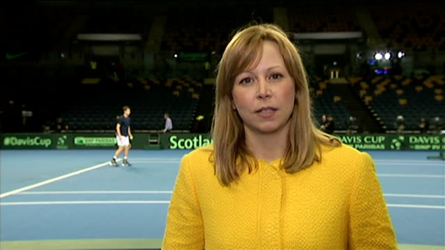 andy murray victory; andy murray training on practice court/ reporter to camera/ andy murray on practice court/ - davis cup stock-videos und b-roll-filmmaterial