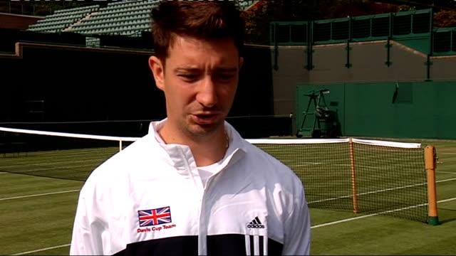 great britain v austria: press conference; alex bogdanovic interview sot - davis cup stock-videos und b-roll-filmmaterial