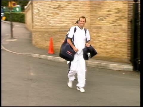 Davis cup injuries LIB South London Wimbledon Tennis player Greg Rusedski arriving at All England Tennis Club PULL MS Tennis player Tim Henman...