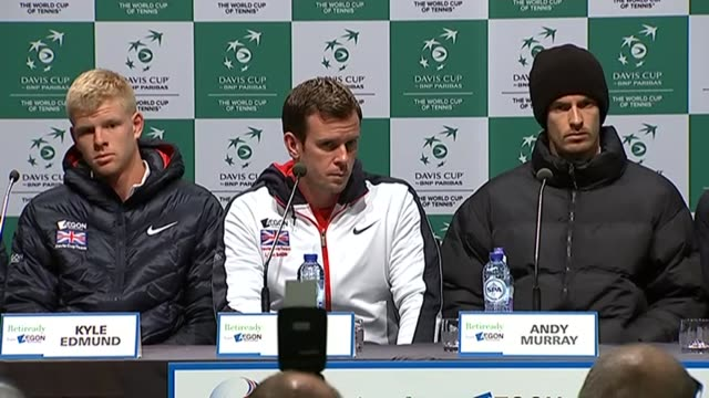 davis cup press conference; belgium: ghent: int dominic inglot , kyle edmund , leon smith , andy murray , james ward and jamie murray press... - davis cup stock videos & royalty-free footage