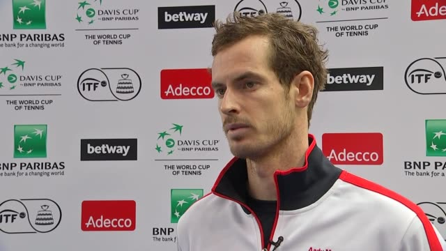 preview of great britain v japan: training and interviews; dan evans, jamie murray, leon smith, andy murray and dom inglot posing for photocall with... - davis cup stock videos & royalty-free footage