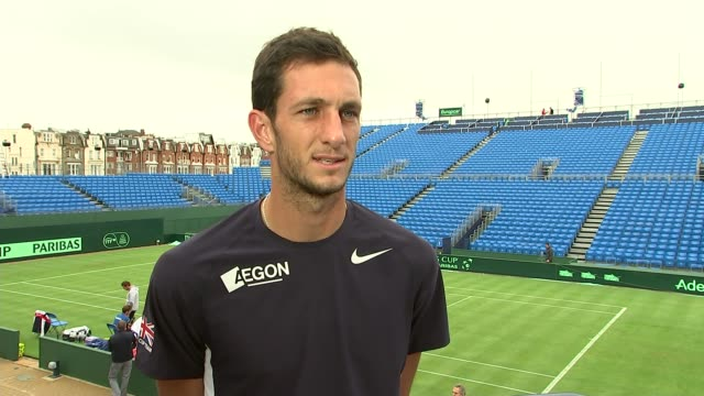 davis cup preview; queen's club: james ward interview sot - pleasing week / ranking went up / tough to take when match is so close andy murray... - davis cup stock-videos und b-roll-filmmaterial