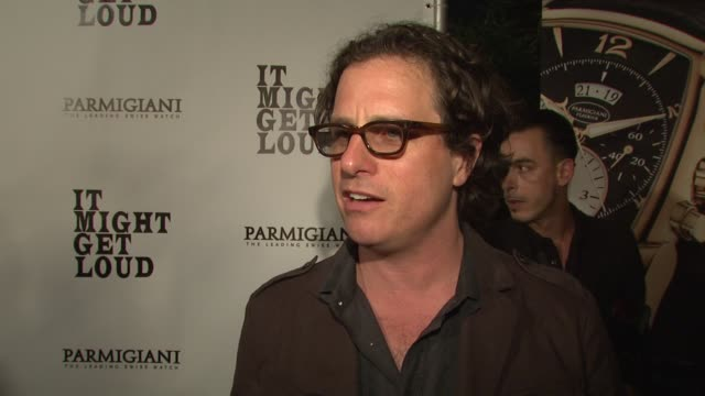davis guggenheim on the film's 'cool factor' the experience of making the documentary if he plays guitar at the 'it might get loud' premiere party at... - ドキュメンタリー映画点の映像素材/bロール