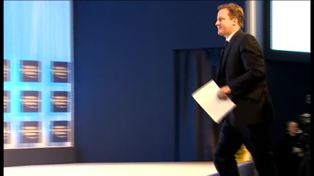 david cameron meets other european leaders cameron along on to stage and podium - ファイサル・イスラム点の映像素材/bロール