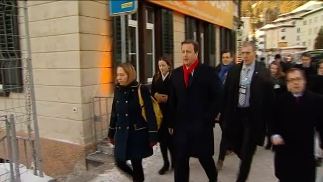 david cameron meets other european leaders switzerland davos ext david cameron mp arriving at world economic forum - ダボス点の映像素材/bロール