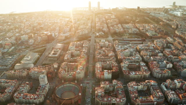 dawn aerial view of barcelona with beautiful patterns in spain. - barcelona stock-videos und b-roll-filmmaterial
