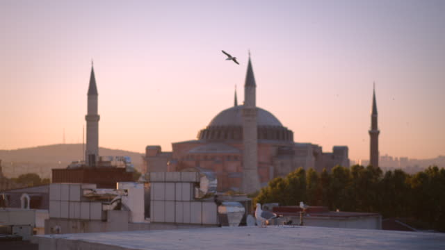 vidéos et rushes de dawn and sunset view of hagia sophia mosque in istanbul, turkey - byzantin