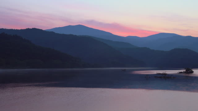 dawn at lake akimoto - dramatic landscape stock videos & royalty-free footage