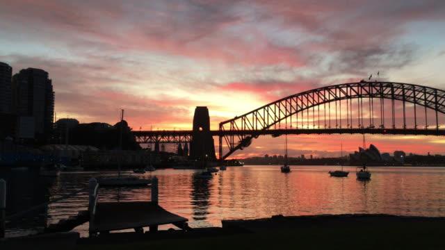 dawn at sydney harbour bridge - opera house stock videos & royalty-free footage