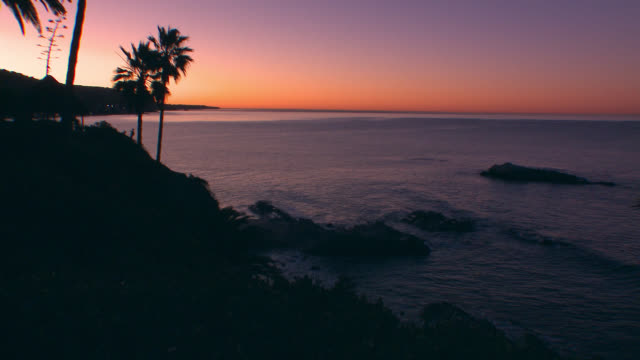 wide angle of cove in laguna beach at dawn. could pass for dusk. palm trees visible. - laguna beach california video stock e b–roll
