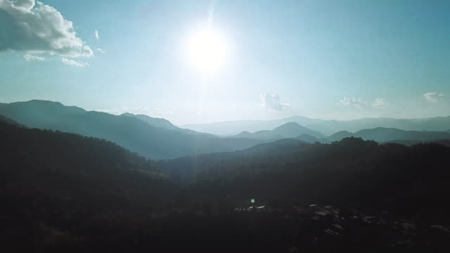 dawn in the morning. aerial drone shot of doi luang chiang dao province chiang mai ,thailand - chiang mai province stock videos & royalty-free footage