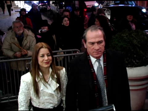 dawn jones and tommy lee jones at the 'three burials of melquiades estrada' new york premiere at the paris theater in new york new york on december... - the three burials of melquiades estrada stock videos and b-roll footage