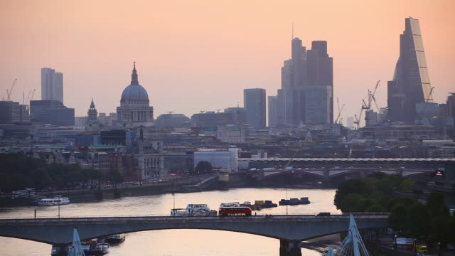 Dawn light to the view to St Paul's and the City of London.
