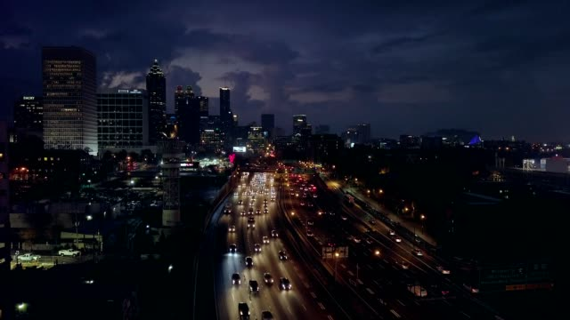 dawn looking south over atlanta - road sign stock videos & royalty-free footage