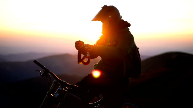 dawn on mountain - beautiful sunrise - helmet stock videos & royalty-free footage
