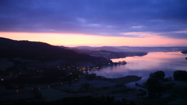 Dawn over Lake Windermere in the Lake District, UK, from Todd Crag.
