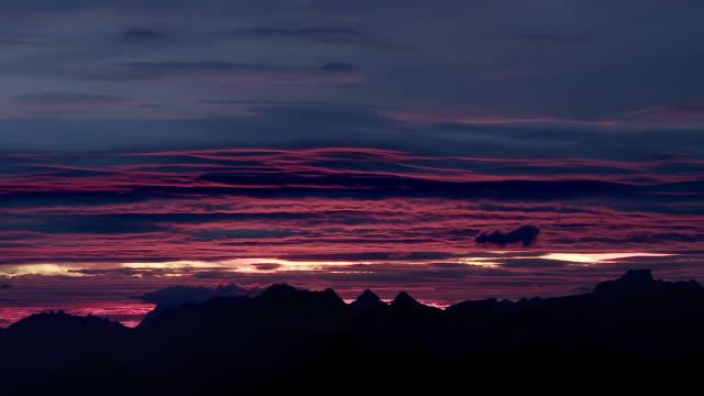 dawn over mountain range