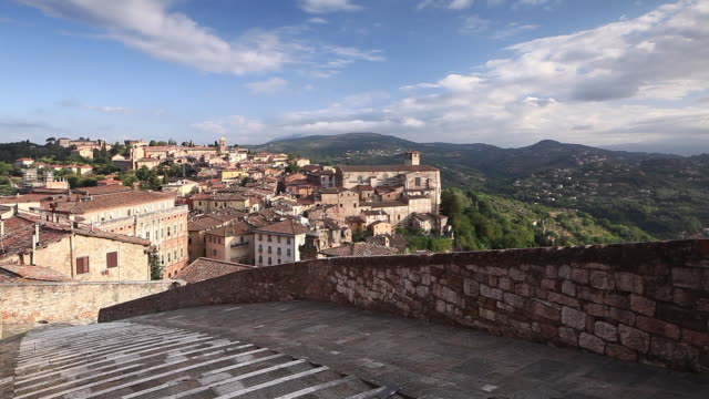 dawn over the historic centre of perugia, italy. - perugia stock videos & royalty-free footage