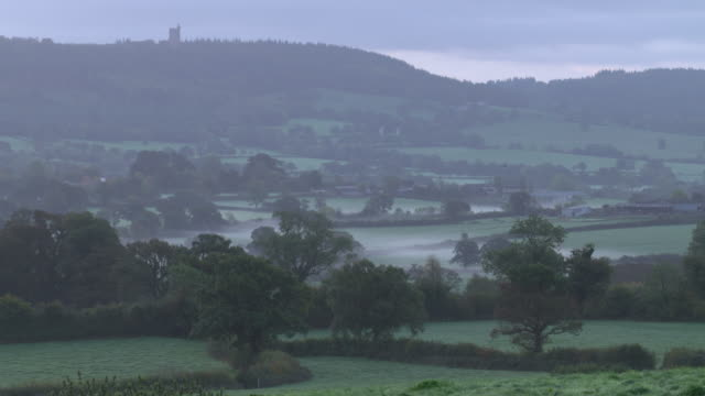 dawn over the somerset levels - somerset levels stock videos and b-roll footage