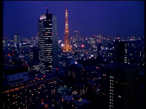 vídeos y material grabado en eventos de stock de dawn over tokyo skyline - 1990 1999