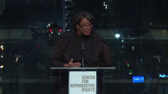 SPEECH Dawn Porter accepts being honored on honoree Isabel Allende at Center For Reproductive Rights Gala at Jazz at Lincoln Center on October 25...