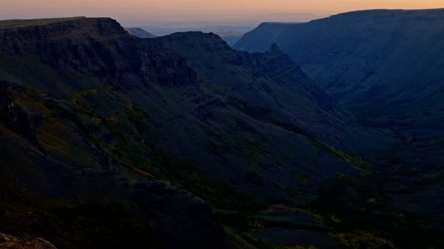 Dawn sunrise reveals Kiger Gorge from Summit of Steens Mountain glacier scoured canyon 2