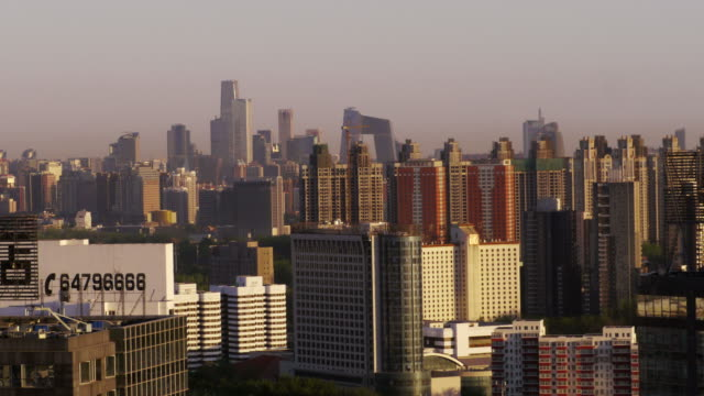 Dawn, sunrise, skyline, China World Trade Center, CCTV Headquarters, Beijing, China