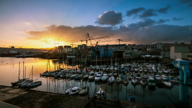 dawn timelapse of the vigo harbor, spain - galicia stock videos & royalty-free footage