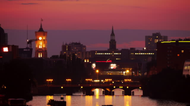 Dawn Time-lapse shot of Berlin. Spree River with Red City Hall