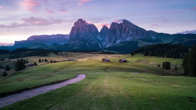 dawn to day landscape time lapse  at seiser alm, dolomites - landscaped stock videos and b-roll footage