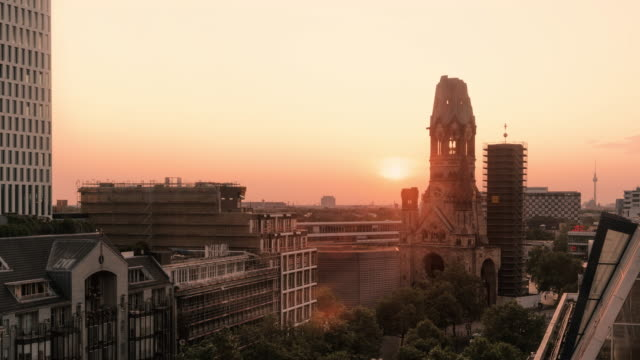 Dawn to day time-lapse of Kaiser Wilhelm Memorial Church, Berlin, Germany