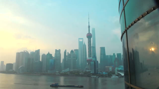 dawn to day timelapse of the bund and busy huangpu river - shanghai, china - river huangpu stock videos & royalty-free footage