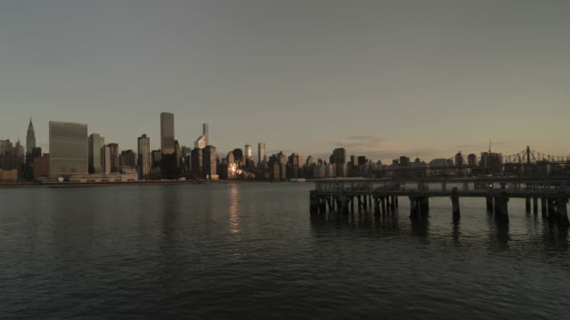 Dawn to day time-lapse of View of mid Manhattan skyline, New York, USA