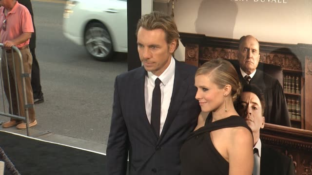 dax shepard and kristen bell at the judge los angeles premiere at ampas samuel goldwyn theater on october 01 2014 in beverly hills california - samuel goldwyn theater stock videos & royalty-free footage