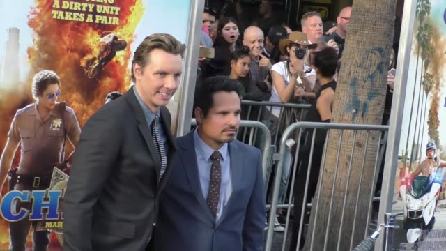 "dax shepard & michael pena at the ""chips"" los angeles premiere at tcl chinese theatre on march 20, 2017 in hollywood, california. - tcl chinese theatre stock videos & royalty-free footage"