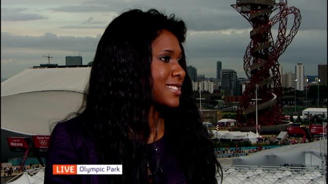day 10 interview tasha danvers england london olympic park int tasha danvers live interview sot talks of athletes' performances funding greatiest... - ロンドン オリンピックパーク点の映像素材/bロール