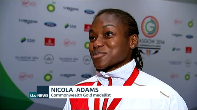 day 10 nicola adams interview sot - itv weekend evening news点の映像素材/bロール