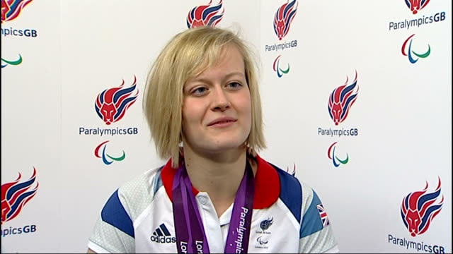 Day 10 Roundup of day's events ENGLAND London Stratford ParalympicsGB House INT Hannah Russell interview SOT