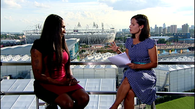 day 12 england london olympic park int tasha denvers live studio interview sot - 2012 stock videos and b-roll footage