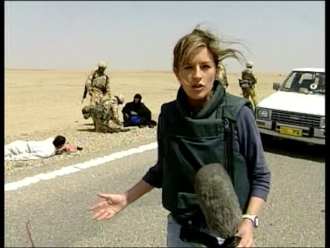 Day 15 News at Nine NEWS AT NINE ANDREA CATHERWOOD IRAQ Nassiriya EXT LMS Lorry flying white flag being stopped by British Gurkha troops CMS White...