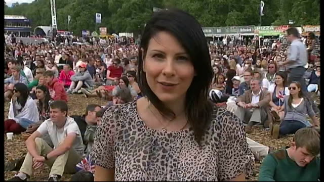 Day 3 Hyde Park showing action on screens every day of Olympics Vox pop Reporter to camera PAN crowd cheering as they watch Tom Daley and Pete...