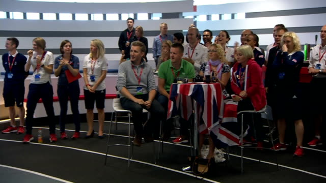 day 5: celebrations at team gb headquarters of britain's first gold medal; england: london: teamgb house: int supporters celebrating as heather... - day 5 stock videos & royalty-free footage