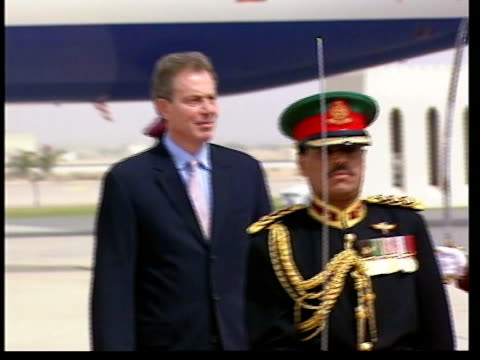 day 5 main events itn oman muscat tony blair mp along to review troops during visit to oman gv troops lined up ms blair and sultan of oman sultan... - oman stock videos & royalty-free footage
