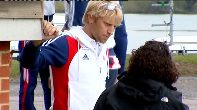 day 5: men's eight rowing; t04041212 /tx ext caversham: andrew triggs hodge chatting to unidentified woman **bates interview partly overlaid sot**... - day 5 stock videos & royalty-free footage