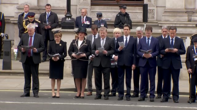 Cenotaph service Miliband Clegg and Cameron singing hymn SOT / prayers / 'Last Post' SOT / 'God Save the Queen' SOT / politicians file back into...