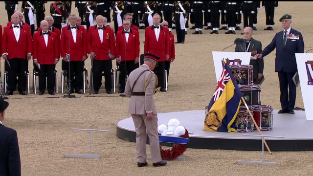 day 70th anniversary: horseguards parade ceremony - wreath laying; england: london: horseguards parade: ext prince charles lays wreath at vj day 70th... - vj演出点の映像素材/bロール