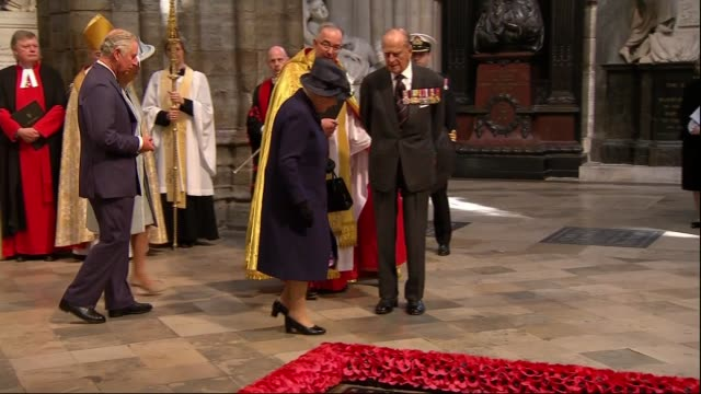 Queen Elizabeth lays wreath at Tomb of the Unknown Soldier ENGLAND London Westminster Abbey INT Queen Elizabeth II accompanied by Prince Philip Duke...