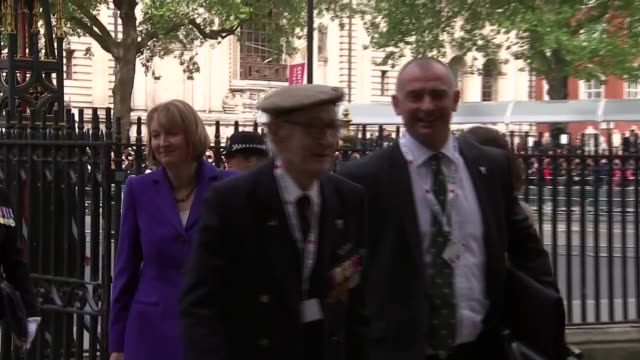 day 70th anniversary: westminster abbey arrivals; england: london: westminster abbey: ext various arrivals at westminster abbey for ve day 70th... - prince edward, earl of wessex stock videos & royalty-free footage