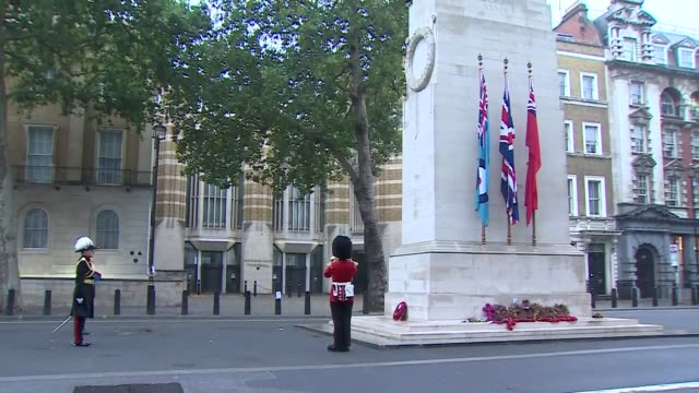 ben wallace lays wreath at the cenotaph; england: london: westminster: whitehall: ext yeoman warder playing 'the last post' on trumpet by the... - ben wallace stock videos & royalty-free footage
