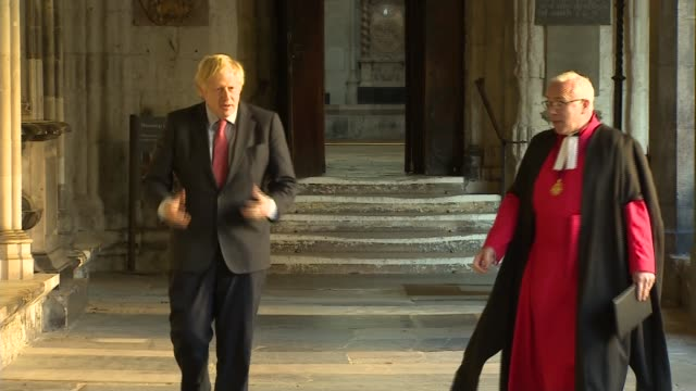 boris johnson visits westminster abbey; england: london: westminster abbey: int boris johnson mp along with dr david hoyle as walking around the... - tomb stock videos & royalty-free footage
